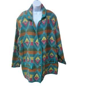 Vtg Hokus Pokus Jacket Cotton Tribal Tapestry  3X